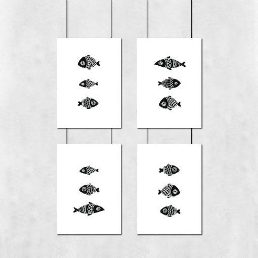 zestaw plakató z rybami