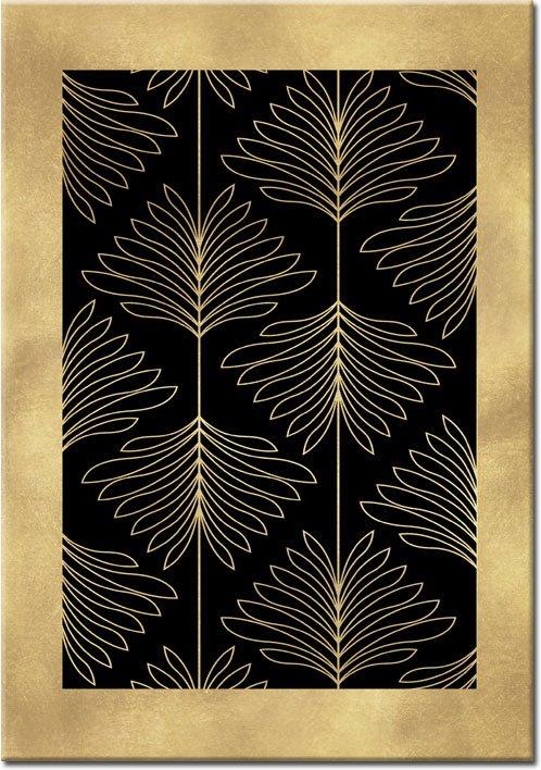 złoty plakat z kwiatami abstrakcyjnymi