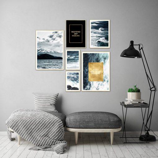 plakaty pozłacane do salonu