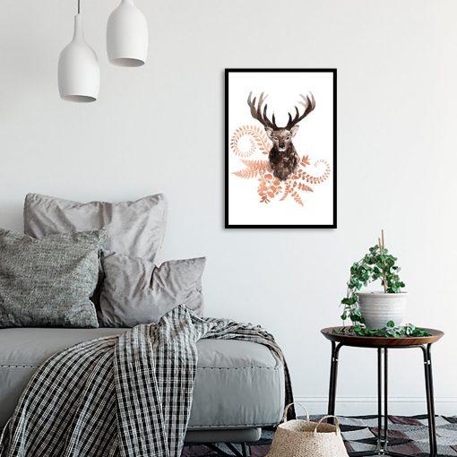 plakat z miedzianym jeleniem
