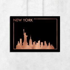 czarne tło plakatu z motywem Nowego Jorku
