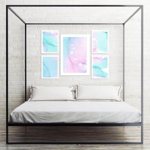zestaw pastelowych plakatów do sypialni