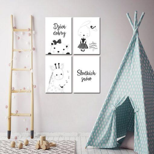 zestaw plakatów ze zwierzątkami