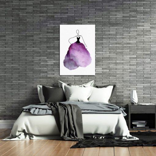 plakat purpurowa postać