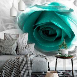 fototapeta z różą w kolorze turkusowym lub morskim