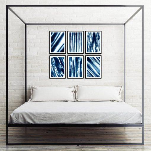 zestaw plakatów z abstrakcją do sypialni