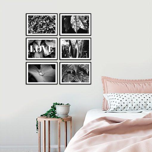 Czarno biały zestaw plakatów na ścianę do sypialni