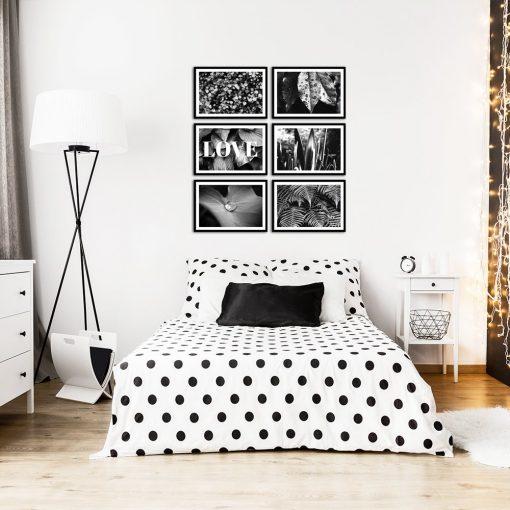 Czarno biały zestaw plakatów na ścianę do dekoracji sypialni