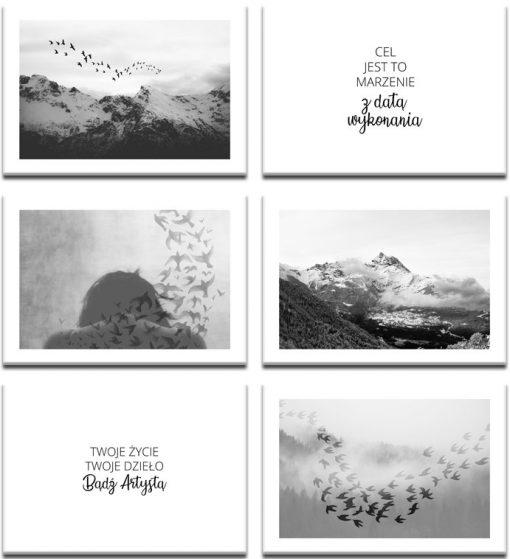 Czarno-biały zestaw plakatów do dekoracji salonu