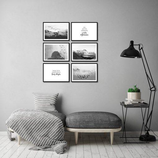 Zestaw plakatów czarno-białych do salonu