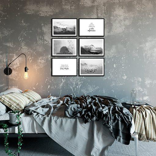 Plakaty w zestawie z motywem gór i ptaków