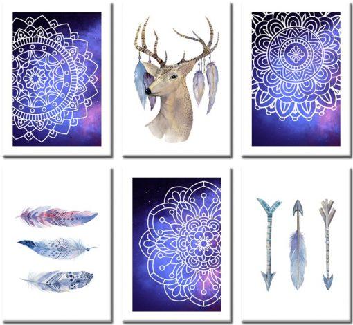 Plakaty przedstawiające orientalne wzory oraz jelenia