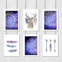 Zestaw plakatów z jeleniem i wzorami