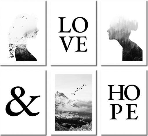 Plakaty hope & love do dekoracji salonu
