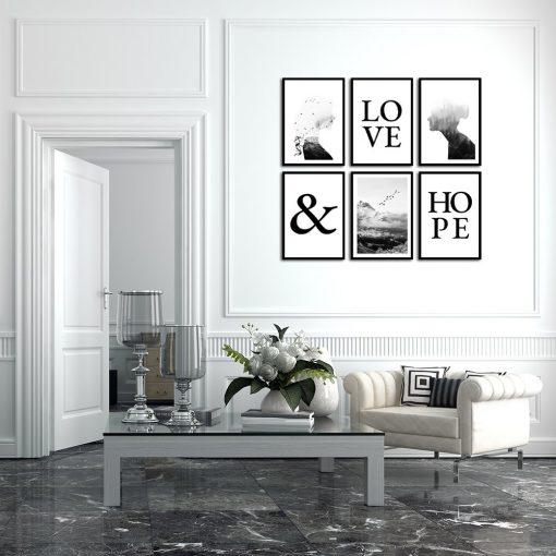 Zestaw plakatów z napisami love & hope
