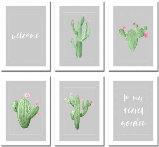 Dekoracja z motywem kaktusów do sypialni