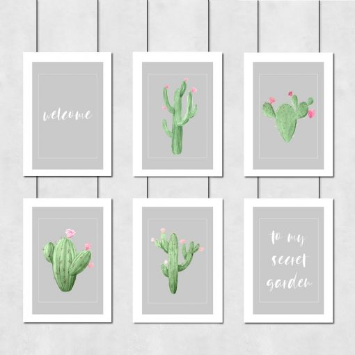 Galeria plakatów z napisem i kaktusami