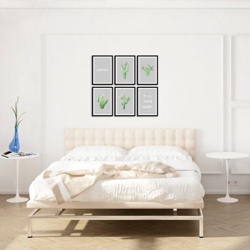 Zestaw plakatów z kaktusami do sypialni