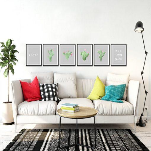 Galeria plakatów z kaktusami do salonu