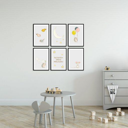 Zestaw plakatów na ścianę słodkich snów maluszku