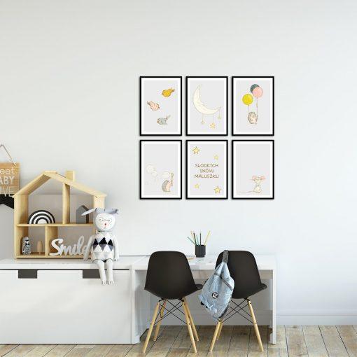Plakaty z motywem zwierząt i napisem w zestawie