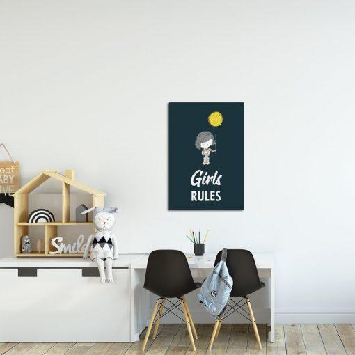 Plakat granatowy z napisem do pokoju dziecięcego