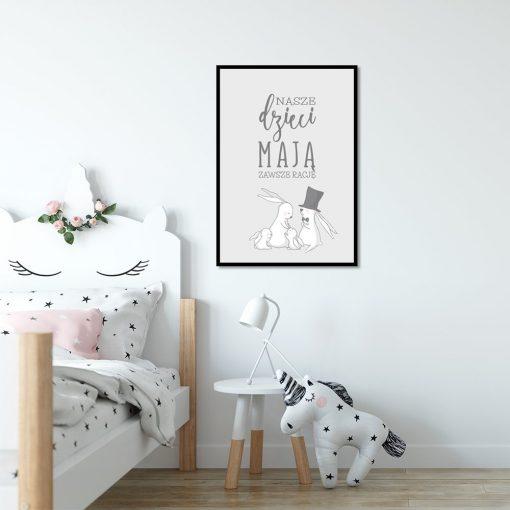 Szary plakat na ścianę do pokoju dziecięcego
