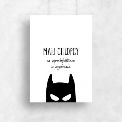 Minimalistyczny plakat z maską batmana
