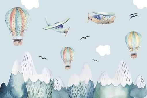 Tapeta na ścianę w kolorze niebieskim z motywem latających balonów