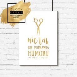 Złoty plakat z motywem nożyczek