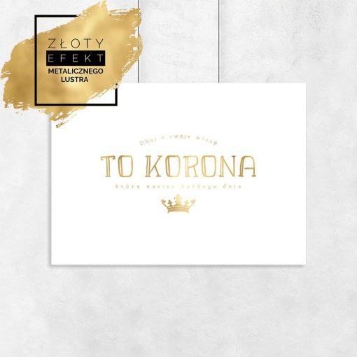 Złoty plakat z motywem korony