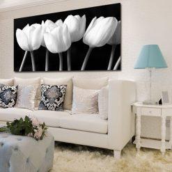 Czarno biały obraz z tulipanami do salonu na ścianie
