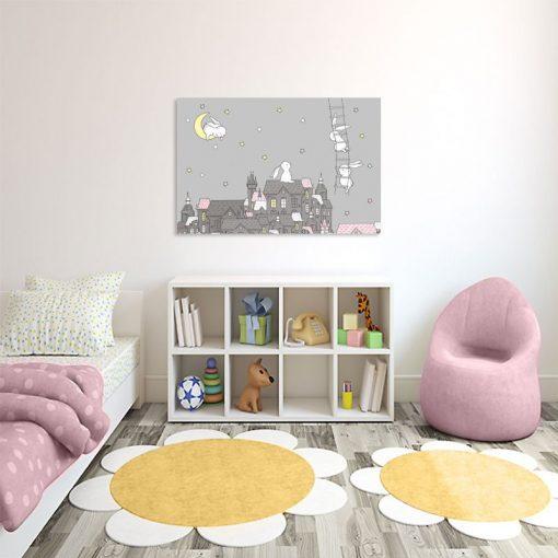 Szary obraz z króliczkami do pokoju dziecka