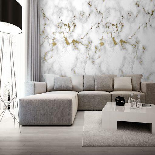 Tapeta z białym marmurem na ścianę do salonu