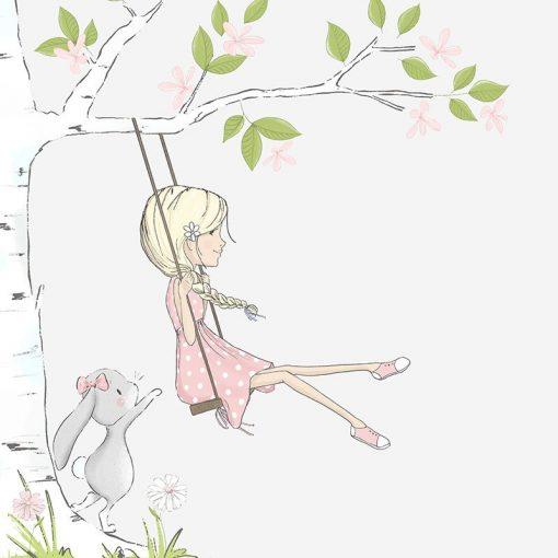 Fototapeta z ilustracją dziewczynki