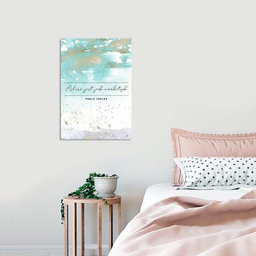 Plakat turkusowy do dekoracji sypialni