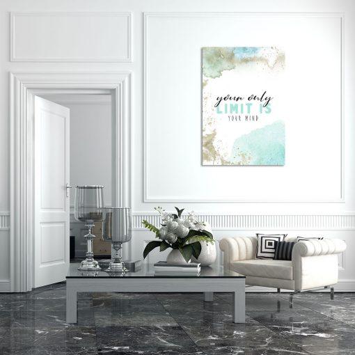 Turkusowy plakat do dekoracji salonu