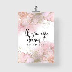 Plakat z różową abstrakcją do salonu