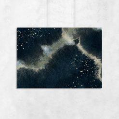 Plakat z motywem granatowej abstrakcji