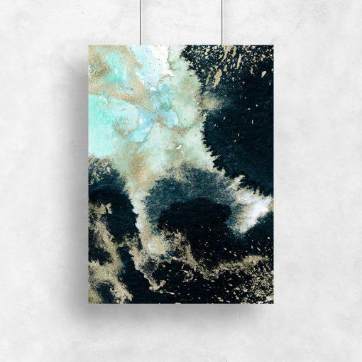 Plakat z granatowym wzorem abstrakcyjnym