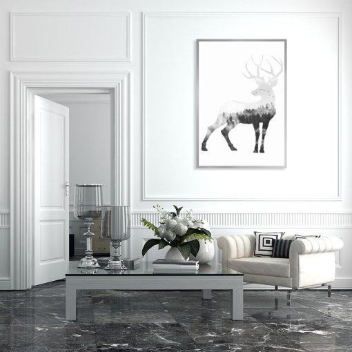 motyw jeleni czarno-białego