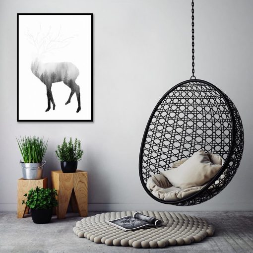 salon z motywem jelenia