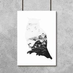 sowa biało-czarna