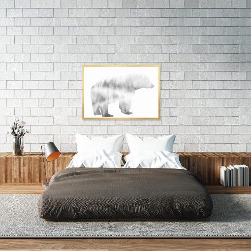 plakat do sypialni z niedźwiedziem
