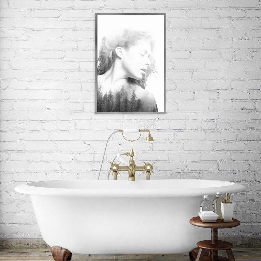 plakat biało-czarny do łazienki