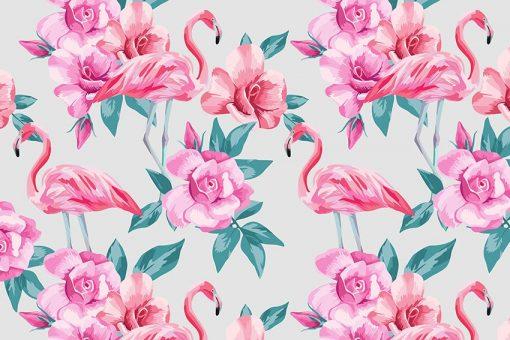 kwiaty i flamingi