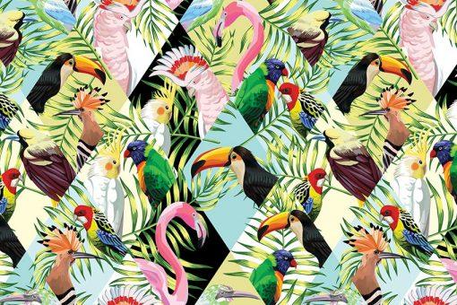 tapeta z tropikami i flamingami