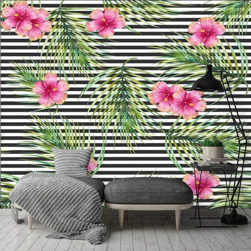 kwiaty i paski na tapecie