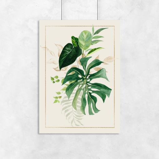 salon z motywem liści