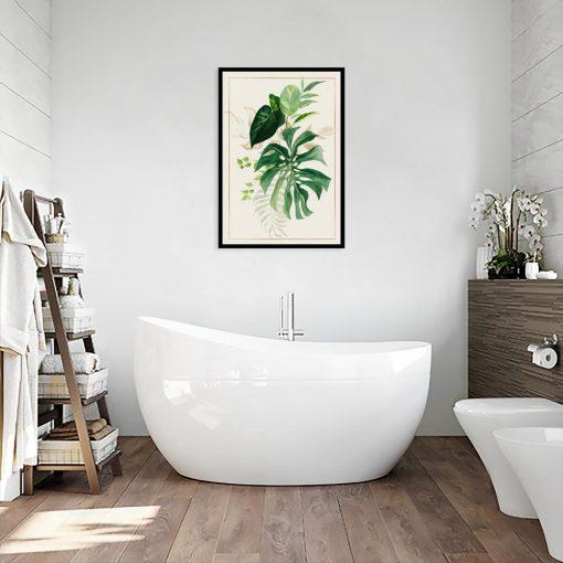 liście na plakacie do łazienki